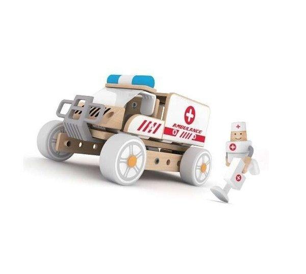 Дървен конструктор 3 в 1 - Линейка